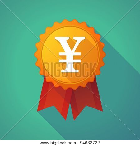 Long Shadow Badge With A Yen Sign