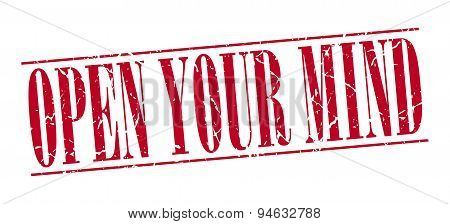 Open Your Mind Red Grunge Vintage Stamp Isolated On White Background