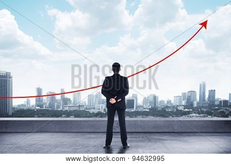 Business Man Looking To The Graph