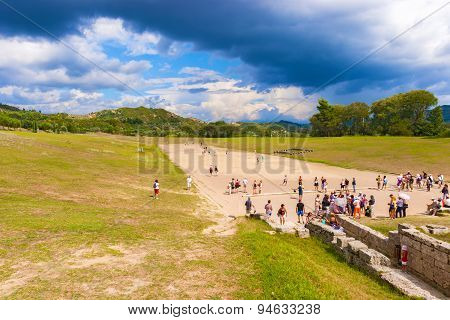 Ancient  Games Stadium In Olympia, Greece