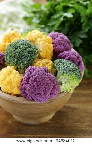 different cauliflower broccoli green yellow and purple