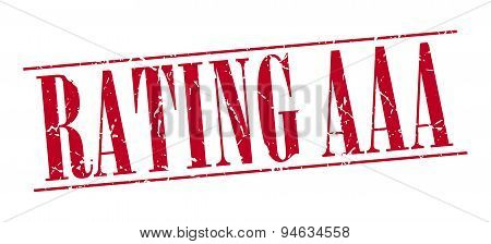 Rating Aaa Red Grunge Vintage Stamp Isolated On White Background