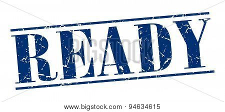 Ready Blue Grunge Vintage Stamp Isolated On White Background