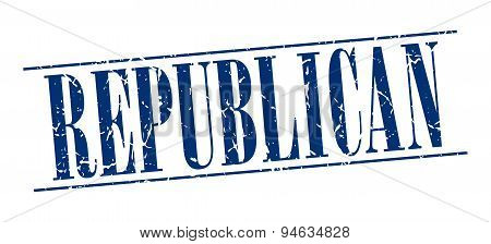Republican Blue Grunge Vintage Stamp Isolated On White Background