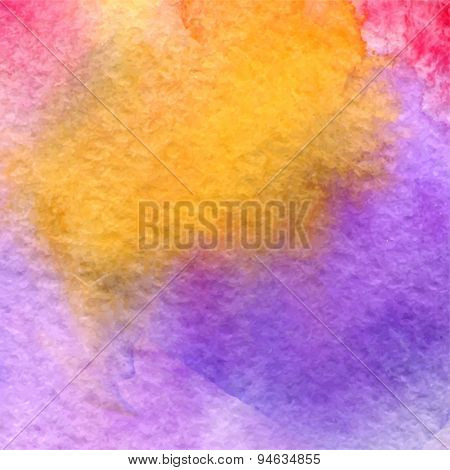 Vector Watercolor Illustration Colorful Abstract Background With Yellow And Violet Colors