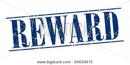 Reward Blue Grunge Vintage Stamp Isolated On White Background