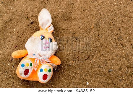 Child's Discarded Fluffy Toy Rabbit