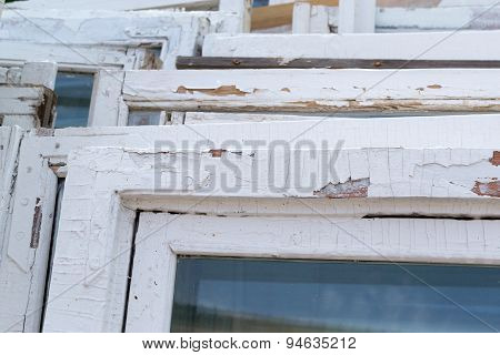 Old White Wooden Window Frames