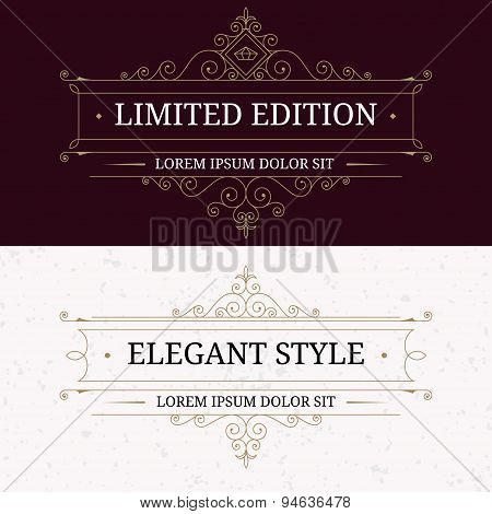 Set of vintage frames for luxury logos