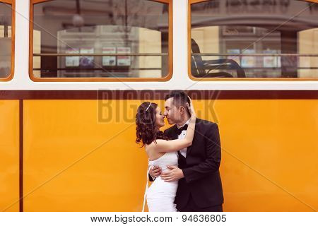 Bride And Groom Near Tram
