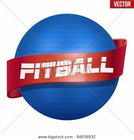 Label of Classic blue Fitball with ribbon