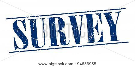 Survey Blue Grunge Vintage Stamp Isolated On White Background