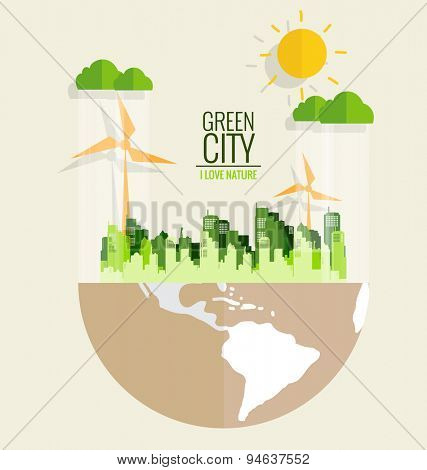 Ecology concept. Paper cut of globe and city. Vector illustration.