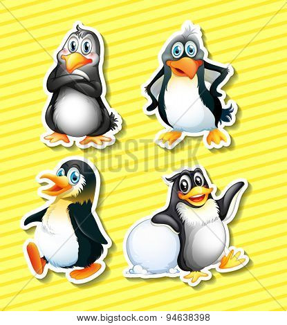 Set of four panguin stickers on yellow background