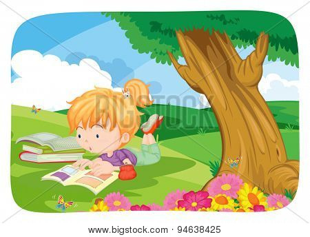 Poster of a girl reading books under a big tree
