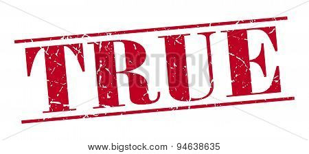 True Red Grunge Vintage Stamp Isolated On White Background