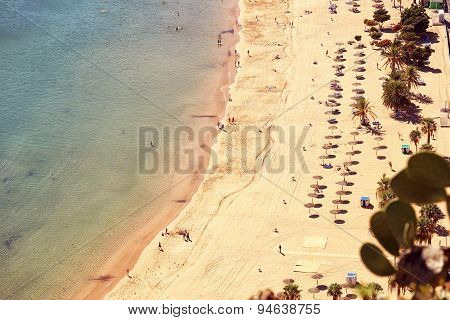 Top View Of Tenerife Beach