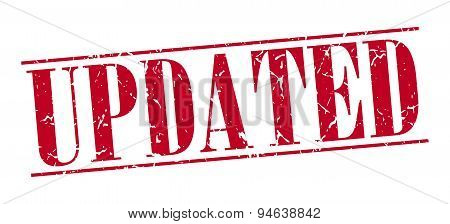 Updated Red Grunge Vintage Stamp Isolated On White Background