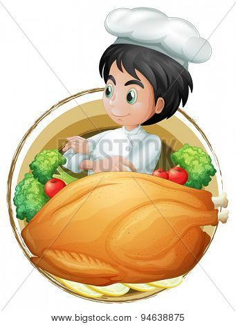 Poster of a chef with vegetables and turkey