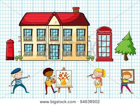 Poster of a school building with children darwing and coloring