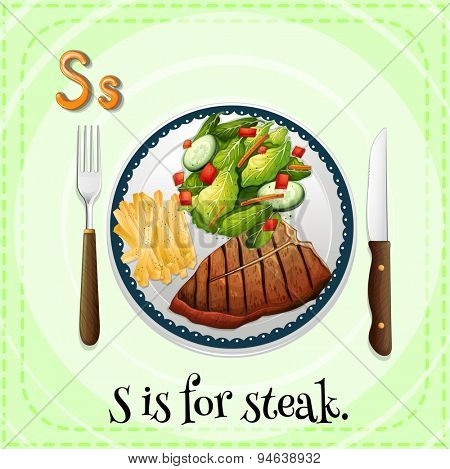 Flashcard Alphabet S is for steak