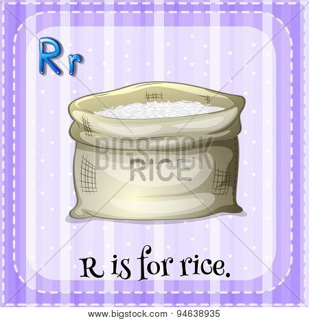 Flashcard of alphabet R with a sack of rice
