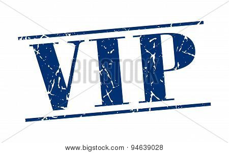 Vip Blue Grunge Vintage Stamp Isolated On White Background