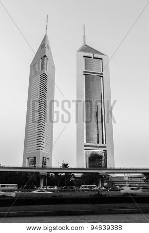 DUBAI - OCT 16: twin towers in Dubai on October 16, 2014. Dubai is the most populous city and emirate in the UAE, and the second largest emirate by territorial size after the capital, Abu Dhabi