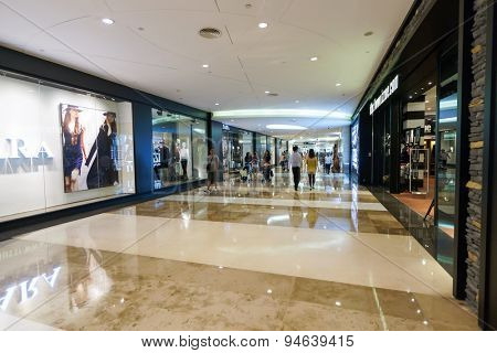SHENZHEN, CHINA - SEPTEMBER 29, 2013: shopping center interior. Shenzhen is a major city in the south of Southern China's Guangdong Province, situated north of Hong Kong