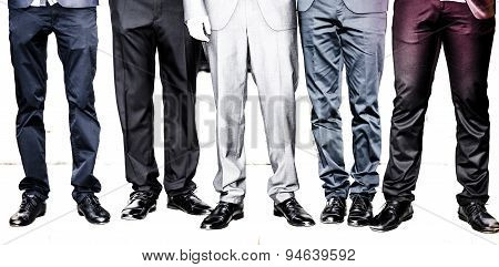 Man Feet In Suits Isolated On White Background