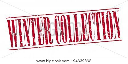 Winter Collection Red Grunge Vintage Stamp Isolated On White Background