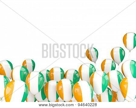 Flying Balloons With Flag Of Cote D Ivoire