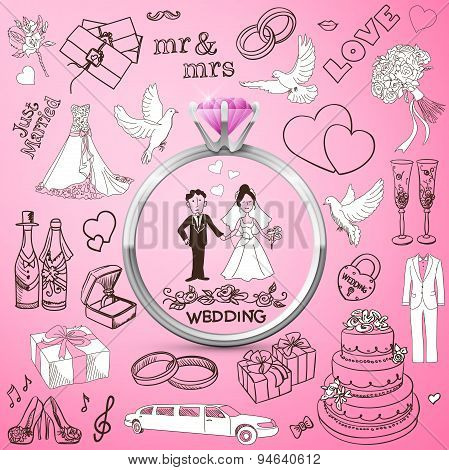 Hand drawn collection of decorative wedding design elements. Holiday objects and signs with Silver d