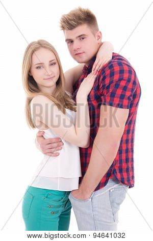 Teenage Love Concept - Happy Smiling Couple In Love Isolated On White