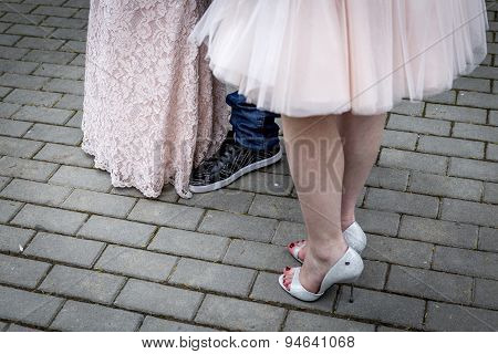 Closeup Of Human Feet During Reception Party