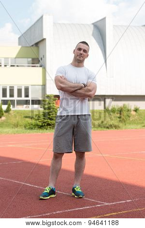 Athletic Man After Fitness Exercise Outdoor