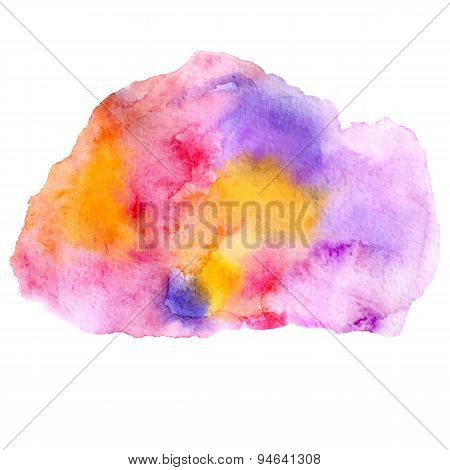 Vector Watercolor Illustration Abstract Colorful Paint Stain In Orange, Pink And Violet Colors Isola