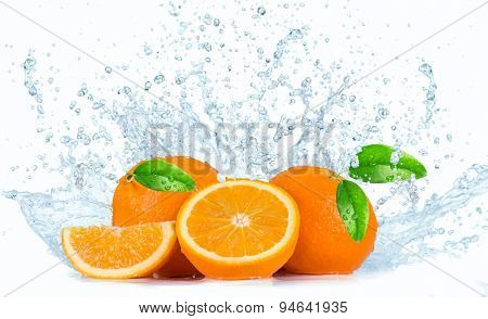 Oranges with Water splashes over white background