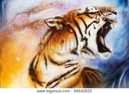 Painting Tiger Painting Collage On Abstract  Background, Wildlife Animals