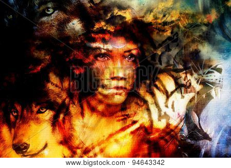 Woman Portrait With  Tigerand Wolf, Color Painting Collage