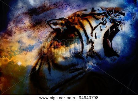 Tiger Painting Collage On Abstract Cloud Background, Wildlife Animals