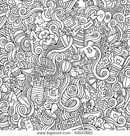 Cartoon vector doodle children seamless pattern