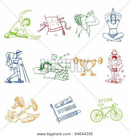 Hand drawn doodle sketch icons set healthy lifestyle