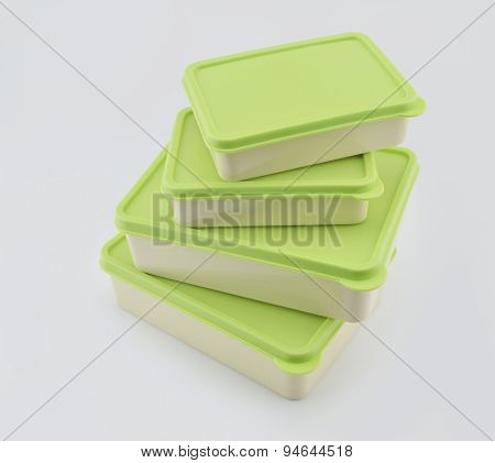 Stack Of Green Plastic Box Isolated On White