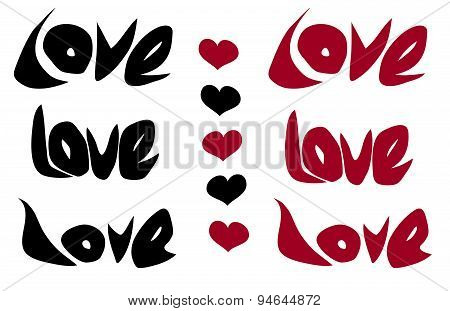Love Word And Heart In Black Red Over White