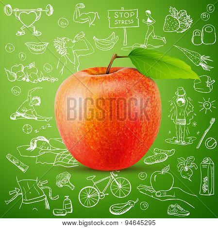healthy lifestyle background with apple