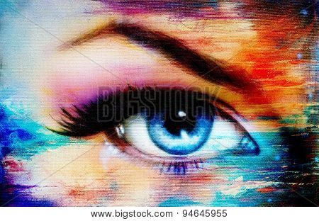 Blue Woman Eye With Violet And Pink Day Makeup. Color Painting