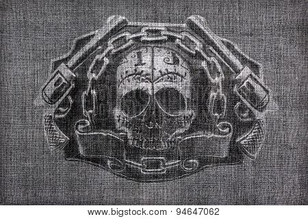 Burlap  With A Picture Of The Skull And Chain Guns