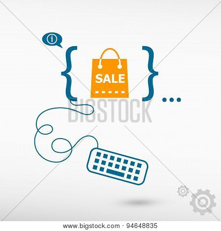 Sale Shopping Bag And Flat Design Elements