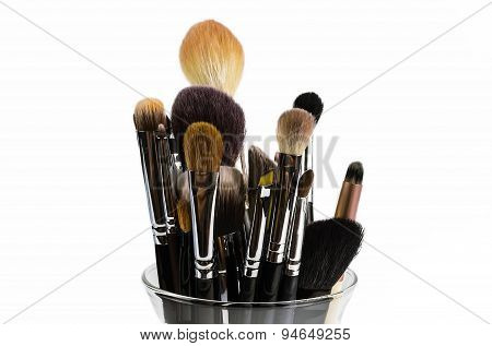 Professional Makeup Brushes Isolated In A Glass